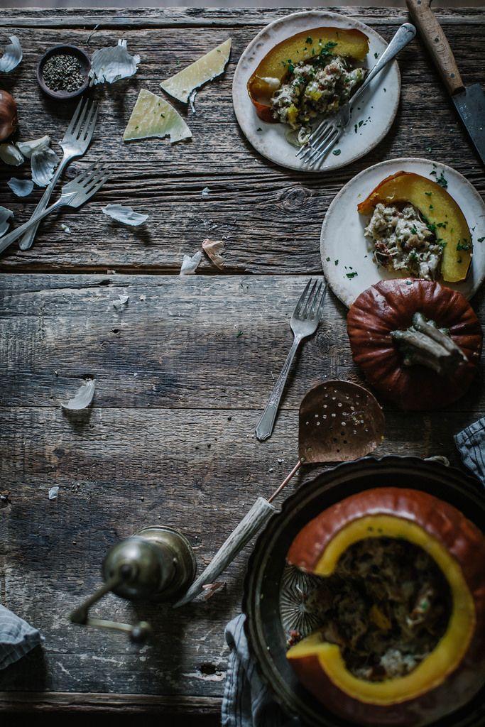 bacon gruyere apple whole grain bread stuffed pumpkin grain foods ...