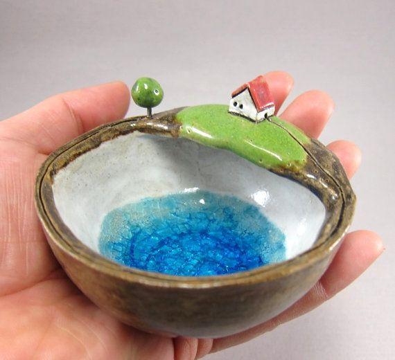 Private Lake…Votive Holder / Keepsake Dish in Stoneware