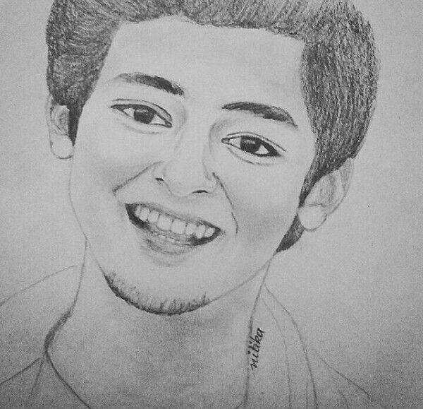 Eeeeeee .. His sketch !!  ❤ his smile !!  ❤ his eyes !!  ❤ HE !!   @darshanraval ❤. Your sketch is so so so damn awesome !!❤ ..  Love ya !!❤   (My forever thing )  @alyiatanwar ❤