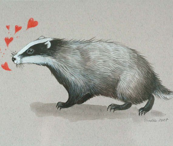 Picture with badger in lovemothers day gifthome by SkadiaArt