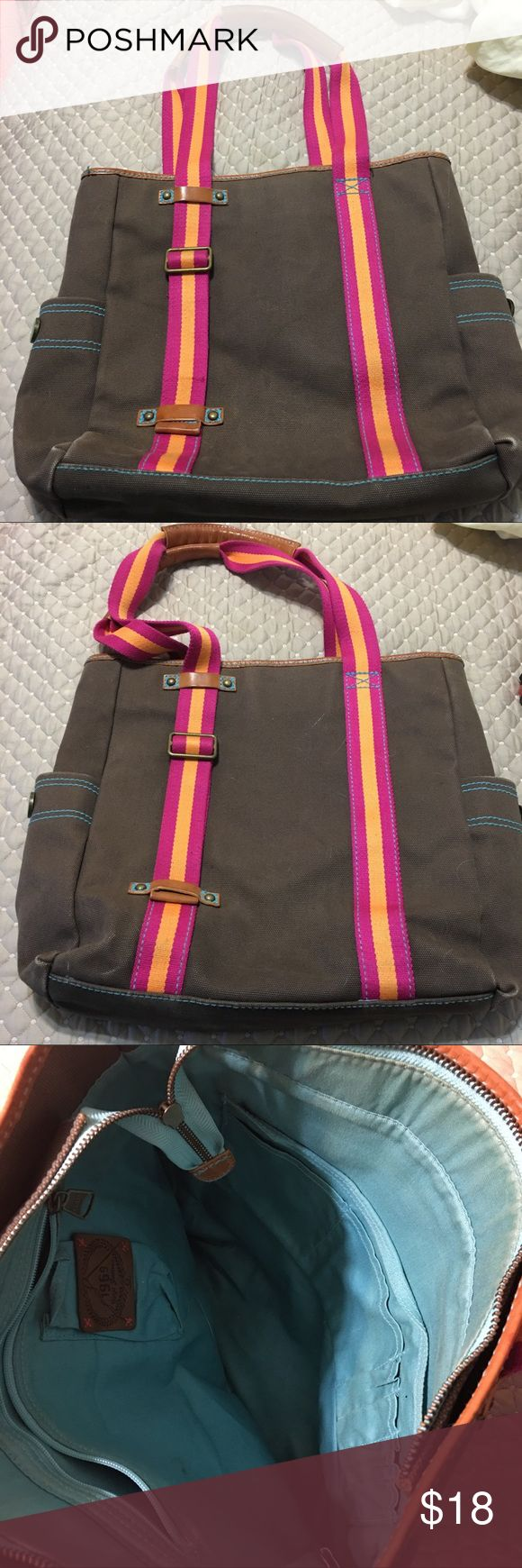 """Gap Tote A large Gap Tote Material: Canvas with Leather Accents  Size: Large 2 side pockets  Bag zips closed Inside: 1 zip pocket, 1 medium slip pocket, 4 pen pockets 2 small slip pockets  Color: Brown with pink/orange straps and brown leather accents L 14"""" x W 13.5"""" x D 3"""" Drop 10"""" GAP Bags Totes"""