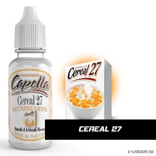 Cereal 27 Flavor / Flingor Arom Capella Flavors erbjuder massor av utsökta smaker till väldigt hög klass. De är vattenlösliga och mycket koncentrerade essenser.  Tillverkade i USA med säkra och rena smaker. Godkända av FDA (Amerikanska Mat- och läkemedelsverket). Kan användas i både mat (bakverk, glass m.m.) och dryck (alkoholhaltiga drinkar, protein shakes, espressos, smaksatt vatten m.m.