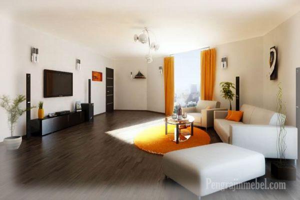 Ide desain ruang keluarga dengan sofa warna putih