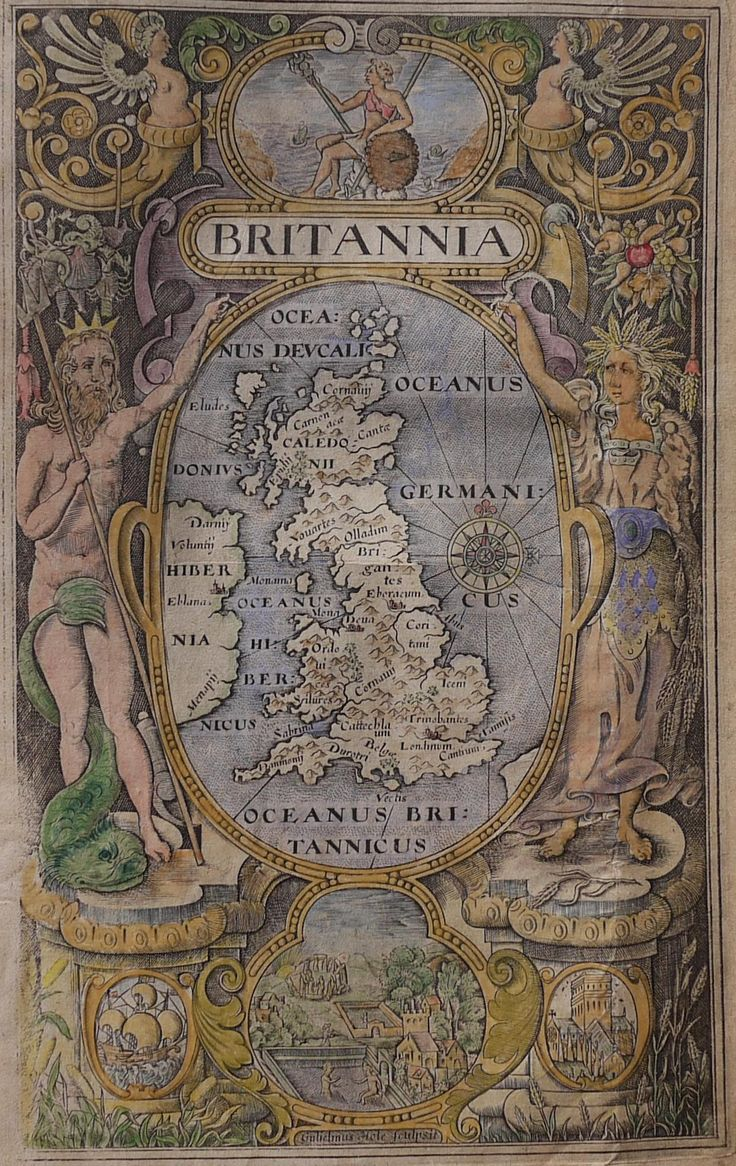 This very attractive engraving by William Hole has a design that is based on the work of William Rogers for the smaller sized 1600 printing of Camden's Britannia. Neptune and Ceres flank the central roundel with a map of the British Isles