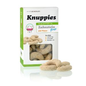 Knuppies Antiplaca, galletas con función de cepillo de dientes para perros con base en algas marinas, hipoalérgicas y 100% naturales.