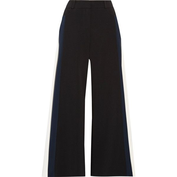 Peter Pilotto Cropped striped cady wide-leg pants ($405) ❤ liked on Polyvore featuring pants, capris, jeans, black, cropped trousers, wide-leg pants, peter pilotto, striped trousers and wide leg cropped trousers