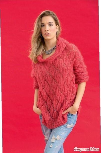 Описание модели Размеры: 36/38 (42/44). Вам потребуется: 225 (275) г розовой пряжи Tiffany (64% суперкоролевского мохера, 26% шёлка, 10% полиамида, 110 м/25 г); круговые спицы № 5,5.