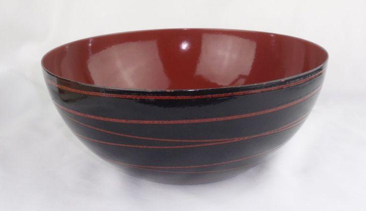 CATHERINEHOLM Large 11.125 Inch Bowl SATURN Black With Red MCM Norway #catherineholm