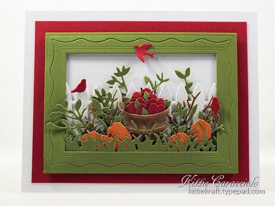 KC Impression Obsession Bushel of Apples...project today was made with the newly released Impression Obsession Rectangle 6-in-1 Frames, Bushel of Apples, Picket Fence, Pumpkin Patch, foliage and bare branches made using pieces of the Reading Tree and Wide Tree, Grass Border, Small Grass Border, Leaves and Stems and Bird set. -