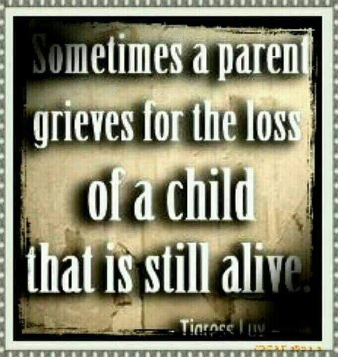 Sometimes a parent grieves for the loss of a child that is still alive.