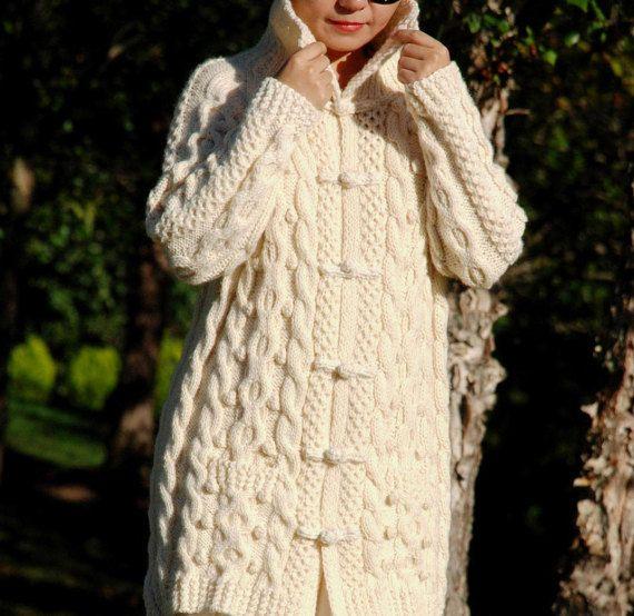 Hand Knit Women Chunky Cable Aran Irish Fisherman Sweater Coat Cardigan Top Whole Wool S M L XL