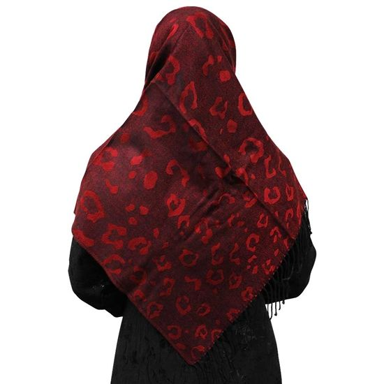 Maroon Red Hijab with Large Cheetah Prints and Black Tassles Scarf