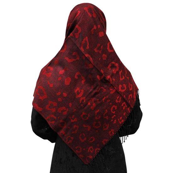 Maroon Red Hijab with Large Cheetah Prints and Black Tassles Scarf