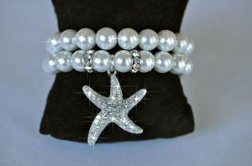 Two Strand Pearl Bracelet with Crystal Rhinestone Starfish