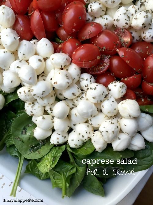Caprese for a crowd.  Um, yes.  Even easier than the skewer version.