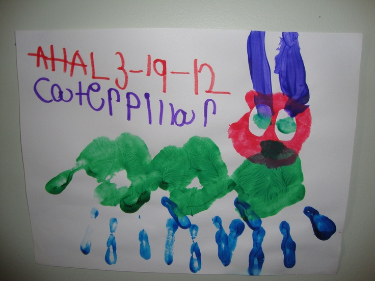 After Story Activity for The Very Hungry Caterpillar by Eric Carle.     Materials: Green paint, blue paint, purple paint, white circles for eyes, paintbrushes, white construction paper.