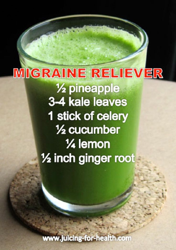 Kind of doubting this, but it might taste good. 5 Rxs still don't stop them all.   Migraine Reliever Juice Recipe Rich in Magnesium, Calcium and Potassium - 10 Homemade Migraine Remedies, Tips and Infographics