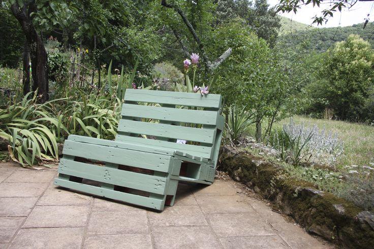 1er banc créé en bois de palette !