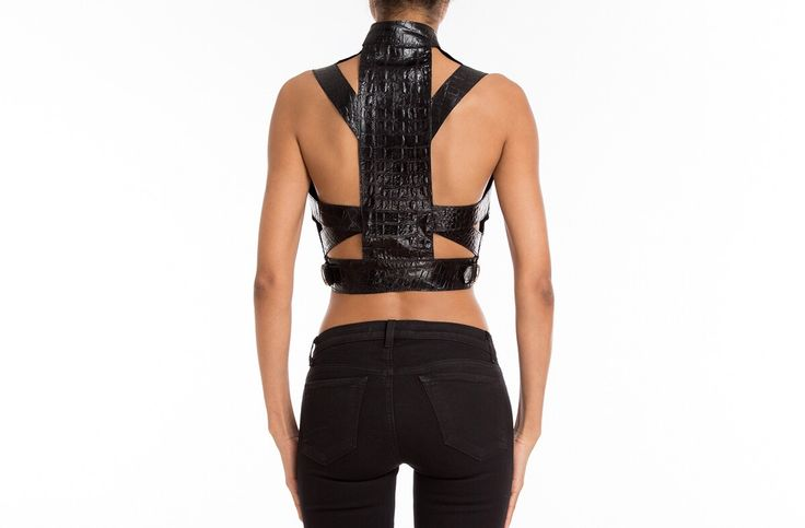 #SexyBack with #Manokhi black crocodile embossed leather top ,available online now on www.manokhi.com