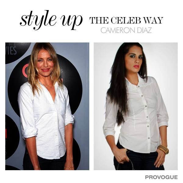 #Styleupthecelebway  You too can have all time smart and simple look like Cameron #white #style  Login to http://www.provogue.com
