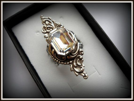 Victorian Art Nouveau Bridal ring Filiree by HAartNouveauJewelry