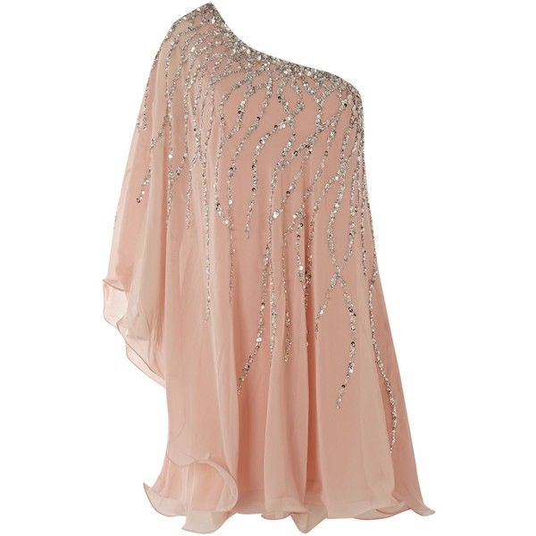 Forever Unique One Shoulder Glitter Dress found on Polyvore
