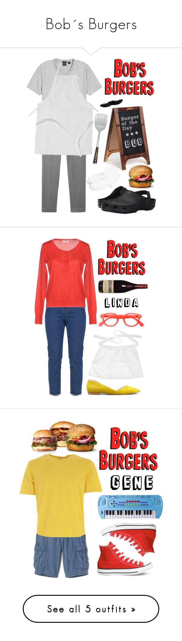 """""""Bob´s Burgers"""" by lysianna ❤ liked on Polyvore featuring MANGO MAN, BOSS Hugo Boss, Crocs, EASEL, HUE, Schmidt Brothers, BOB, bobsburgers, Marc Fisher LTD and Marie-Sixtine"""