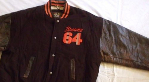 Cleveland Browns Football Bomber Jacket Coat Leather