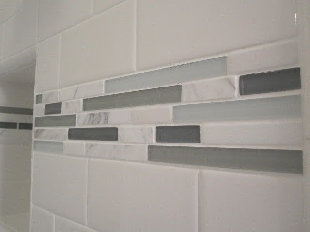 Shower Tile Mix : Shower boarder tiles a mix of honed carrara marble