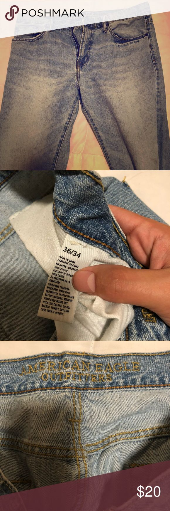 White Washed American Eagle Men's Jeans - 36x34 Stylish men's American Eagle Men's white washed jeans in excellent condition!   Update your style today! American Eagle Outfitters Jeans Straight