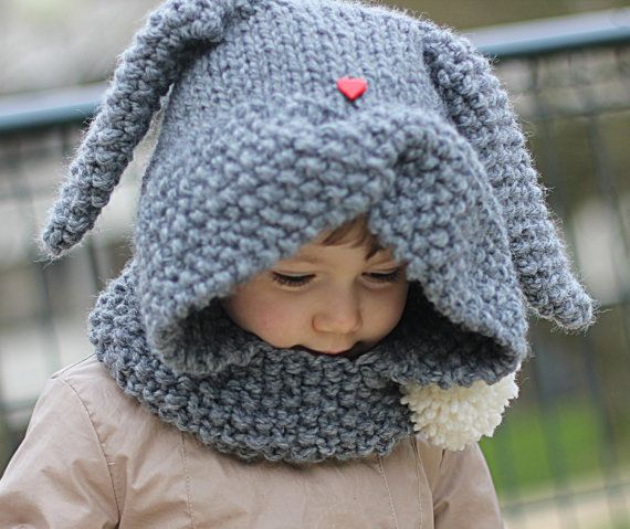 Rabbit Hood Knitting Pattern ZAÏKA Toddler Child von KatyTricot, €4.50