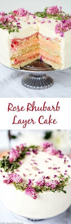 Rose rhubarb layer cake. #summer #desserts