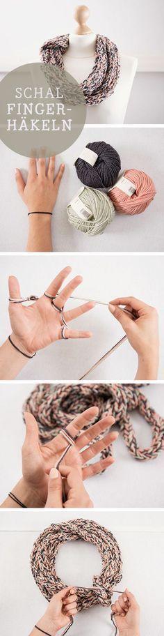 Kostenlose Häkelanleitung: Wir erklären Dir, wie Du einen Schal mit den Fingern häkelst / diy crocheting tutorial: how to crochet with your fingers via DaWanda.com