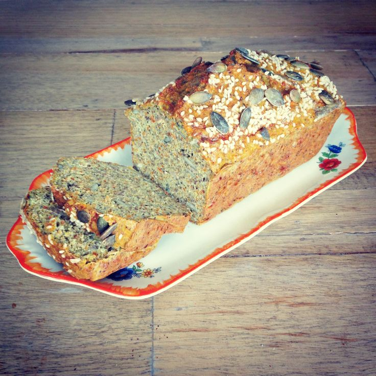 SANE bread Blend 5 eggs, 1/2 cup ghee. Add: 1cup water, 1cup grated carrot, 3/4 cup coconut flour, 1/4 cup ground chia, 2 tsp baking powder, 1/4 cup parsley, 1 tablespoon dried rosemary, 3/4 cup onion flakes, salt/pepper. Mixture should resemble chunky, thickened soup. If not, add more water. Pour into bread tin and bake at 180 degrees for 1-2 hours. After 1 hour - check & cover top with foil in oven if still not ready. Leave o/night before enjoying.