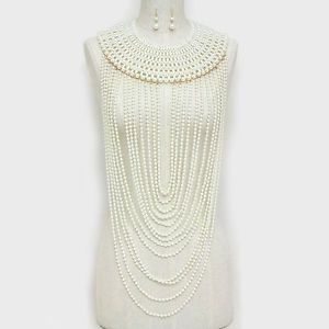 Long-Pearl-Necklace-Body-Chain-CREAM-Pearl-Long-Bib-Choker-Statement-Jewelry