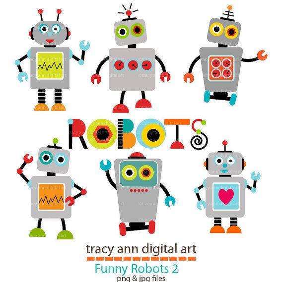 Grey Robot Clip Art Set 2