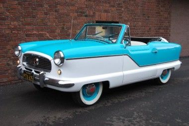My super cool independent grandmother had a 1960 Nash Metropolitan that looked just like this one.  She was a total hipster in her ultra smooth transport.