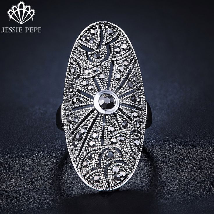 Jessie Pepe Antique Female Jewelry Trendy Vintage Pave CZ  Black Rings For Women J-AA1884