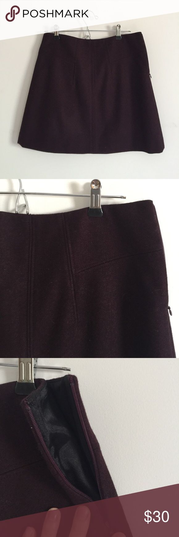Theory wool skirt Plum purple lined wool skirt. Stitched detail with invisible side zipper. Ask questions! Theory Skirts Mini