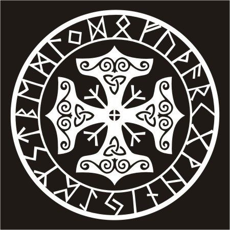 Viking protection runes talisman black vinyl decal by sparrowhawk9