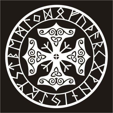 Viking protection runes talisman black vinyl decal by sparrowhawk9