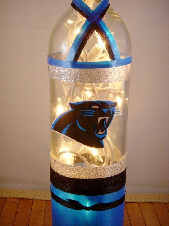 Carolina Panthers Football Wine Bottle Lamp by EcoArtbyNancy, $25.00