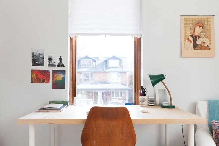 simple home office - Nuria and Ricardo's Modern Toronto Apartment Filled With Natural Light