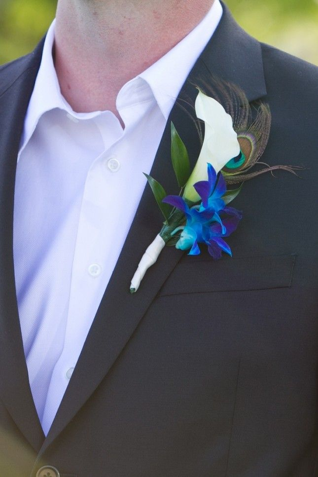 orchid and peacock feather boutonniere