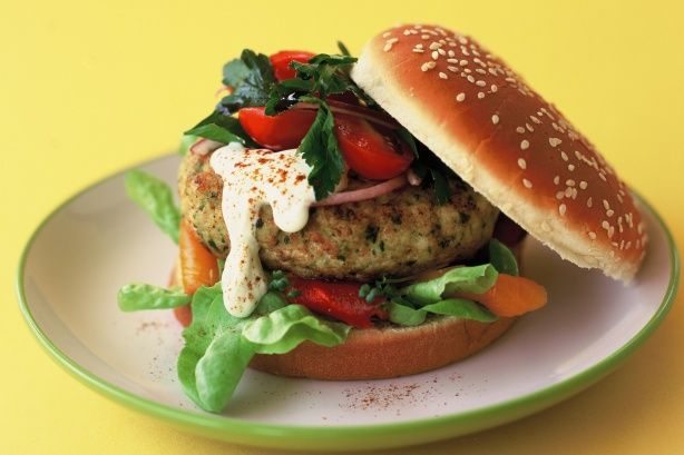 Low fat chicken lemon and herb burger
