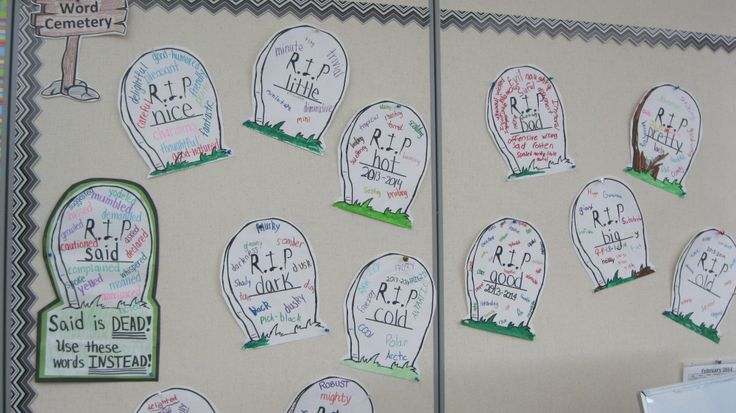 """""""Dead"""" words are overused words in student writing such as good, bad, little and big etc. I blew up a tombstone on 11 x 17 paper and had students write a """"dead"""" word on the tombstone. They then used a thesaurus to find more exciting synonyms that could be used in their writing instead!"""