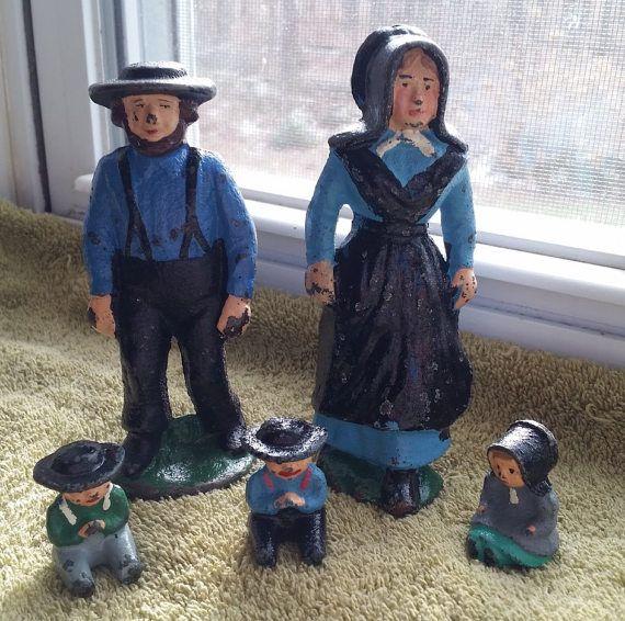 Cast Iron Amish Family-Set of 5