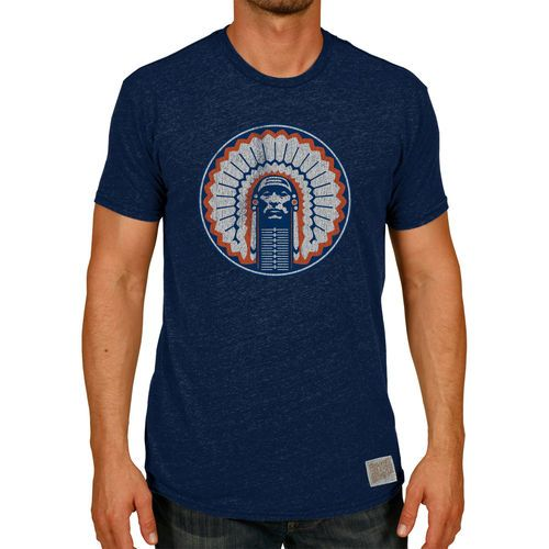 Original Retro Brand Illinois Fighting Illini Heather Navy Vintage Chief Tri-Blend T-Shirt