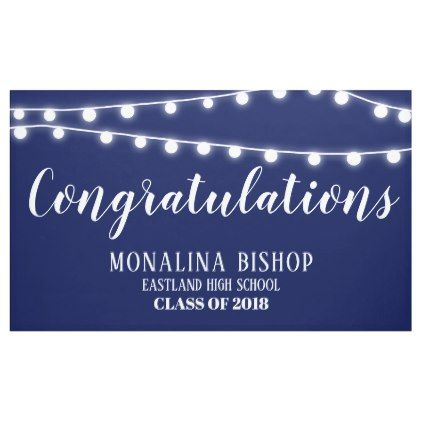 Navy Blue String Of Lights Congratulation Graduate Banner - #chic gifts diy elegant gift ideas personalize