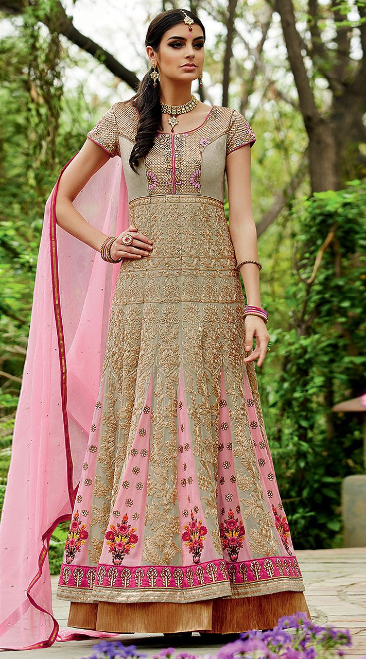 Fantastic Silver Floor Length Anarkali Suit With Embroidery Work  2BR310425  Classy silver georgette floor length anarkali suit which is decked with a stone, zari, resham embroidery work all over and lace work on the border part. This outfit comes with a matching bottom and contrast pink dupatta.This unstitched outfit can be stitched in the maximum bust size of 42 inches